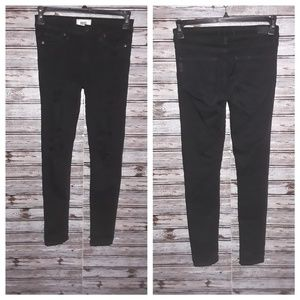 Paige black shadow distressed jeans  size (24)